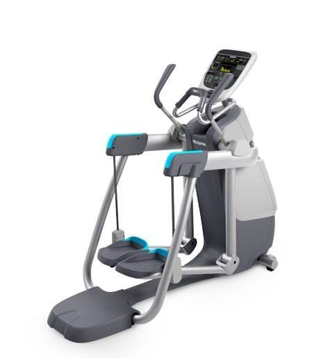 Precor amt 833 in a white and gray body frame highlighted with light blue panels