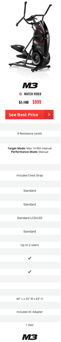 Bowflex Max Trainer M3 Features and Specs