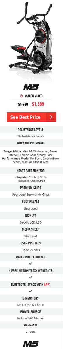Bowflex Max Trainer M5 Features and Specs