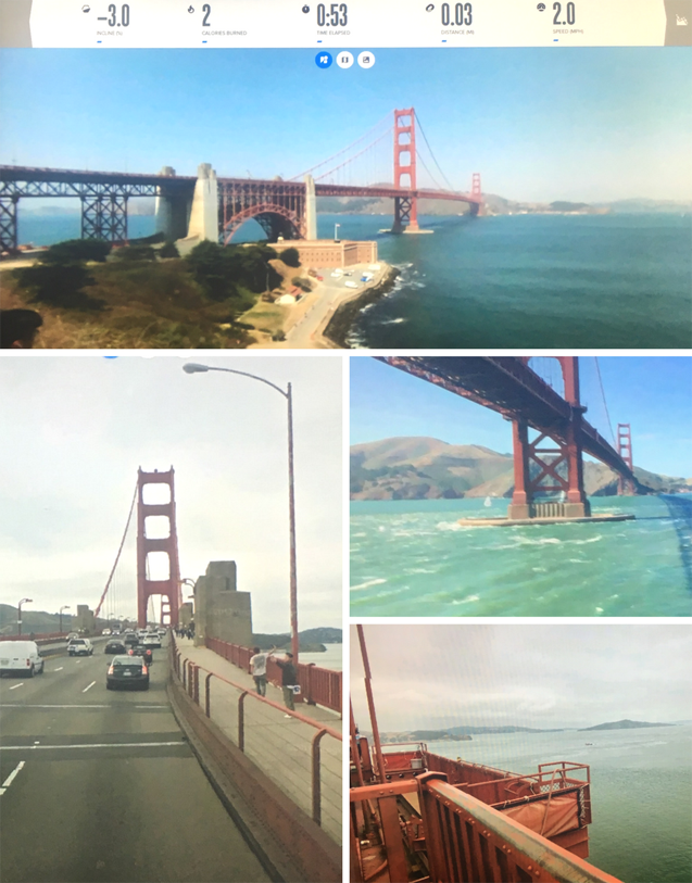 Snapshots of Interactive street views and off-road pictures of Golden Gate Bridge from Elliptical Workout