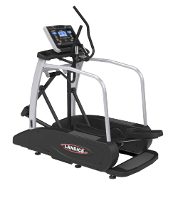 Landice E7 Elliptical in black and silver body frame with transparent background