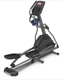 Horizon 7.0 AE Elliptical in a black and gray metal frame with 2 sets of hand grips plus a blue water bottle holder. A centerpiece console for the speed control.