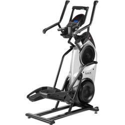 This is a Bowflex Max Trainer M6 in a black and silver body frame with a 2 sets of hand grips and LCD console centerpiece plus a tablet holder and a water bottle pocket atcched to it.