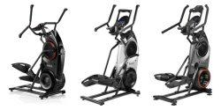 3 different kinds of Bowflex Max Trainer. The first one has a Full black body frame, the 2nd one has a black and silver body frame and the third one has a combination of black and gray body frame. They are all displayed in a white background.