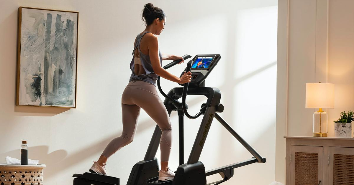 Woman on NordicTrack elliptical